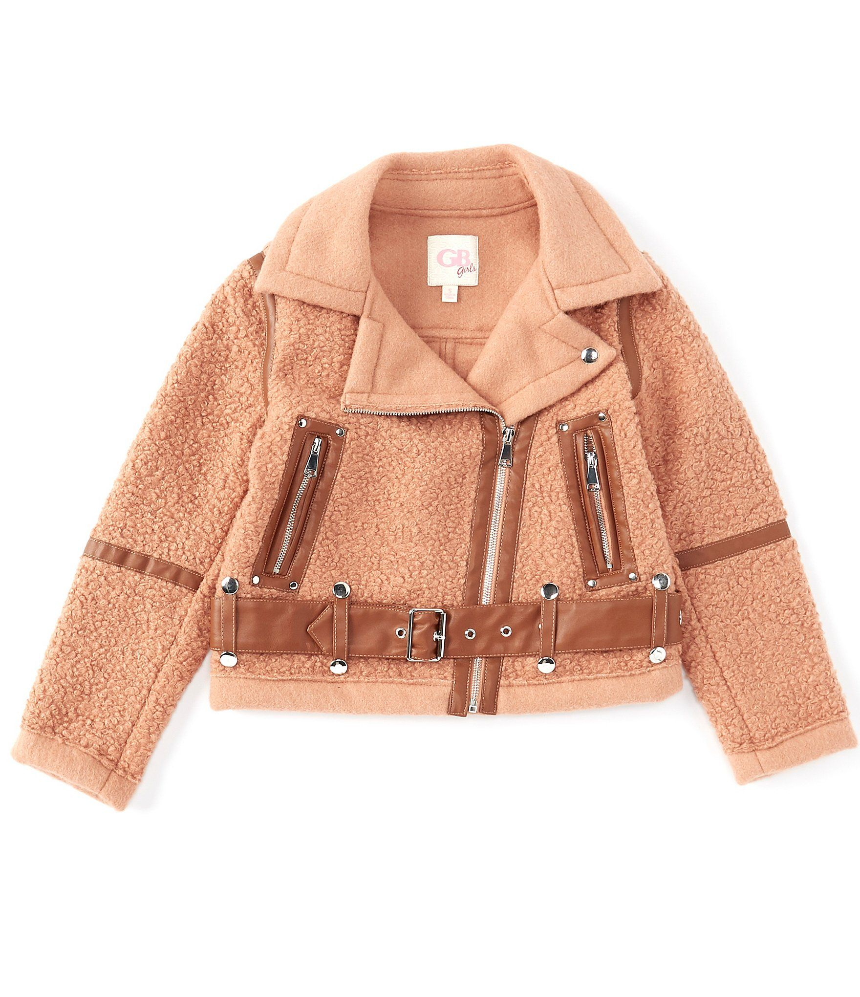 GB GB Girls Big Girls 7-16 Faux Shearling Moto Jacket | Dillard's