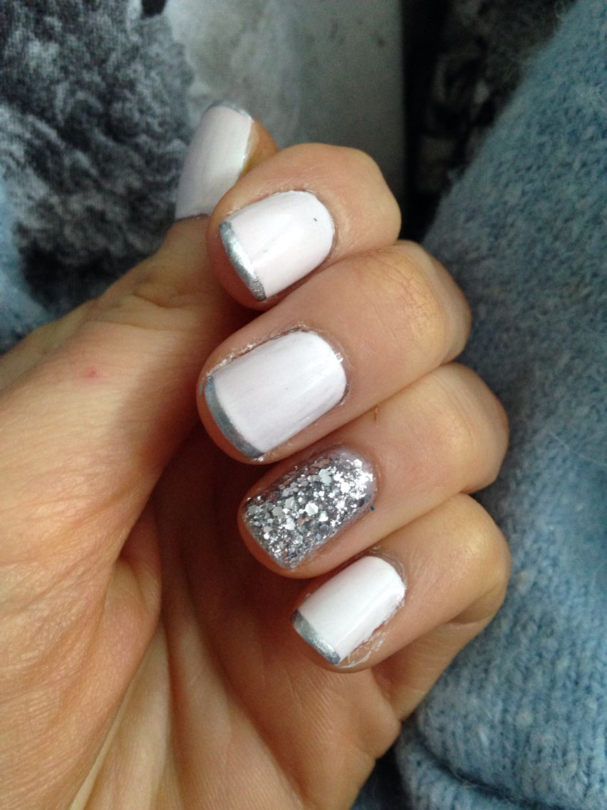 White With Silver Tip And One Full Glitter Nail Opi Essie Depend