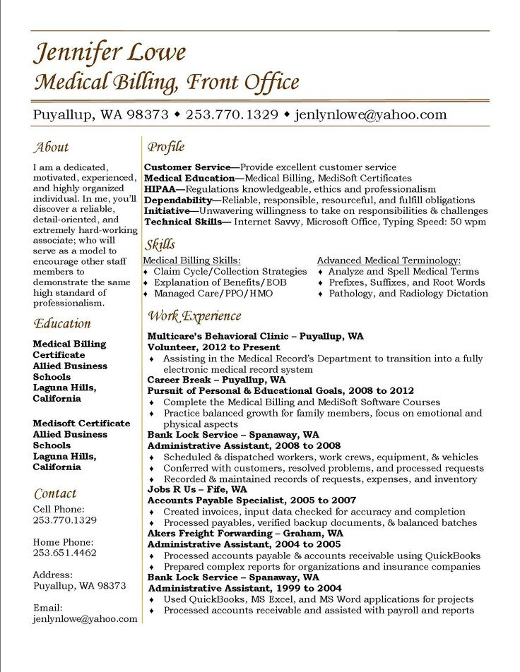 Jennifer Lowe Resume Medical Billing resume career