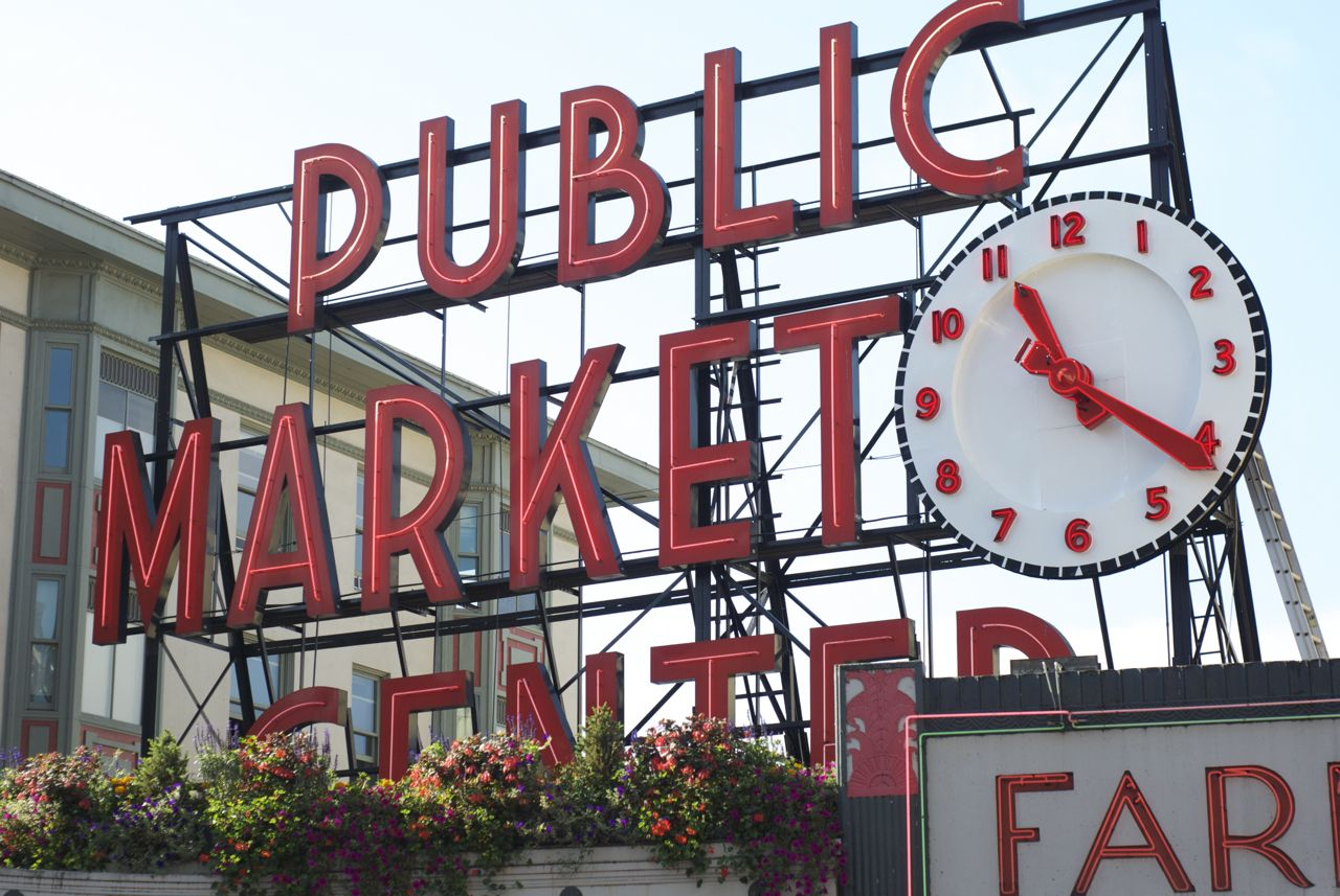 Public Market Sign pike place market sign Notice the flowers