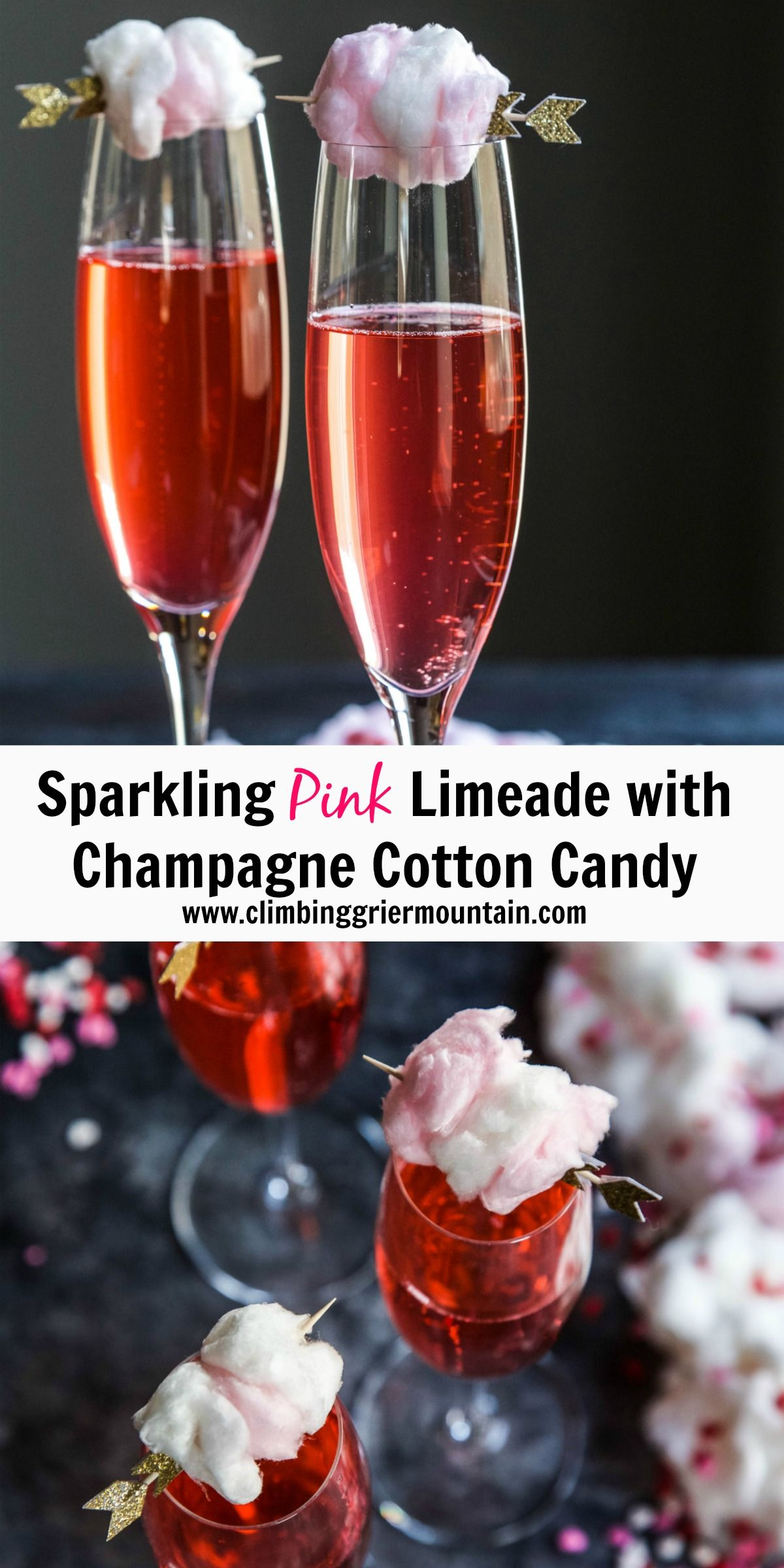 Sparkling Pink Limeade With Champagne Cotton Candy Recipe Champagne Recipe Limeade Cotton Candy Champagne