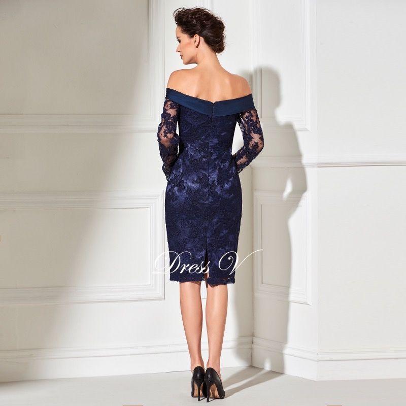 Dressv navy sheath knee length cocktail dress real sexy off the shoulder long  sleeves zipper up 72d643e63bde