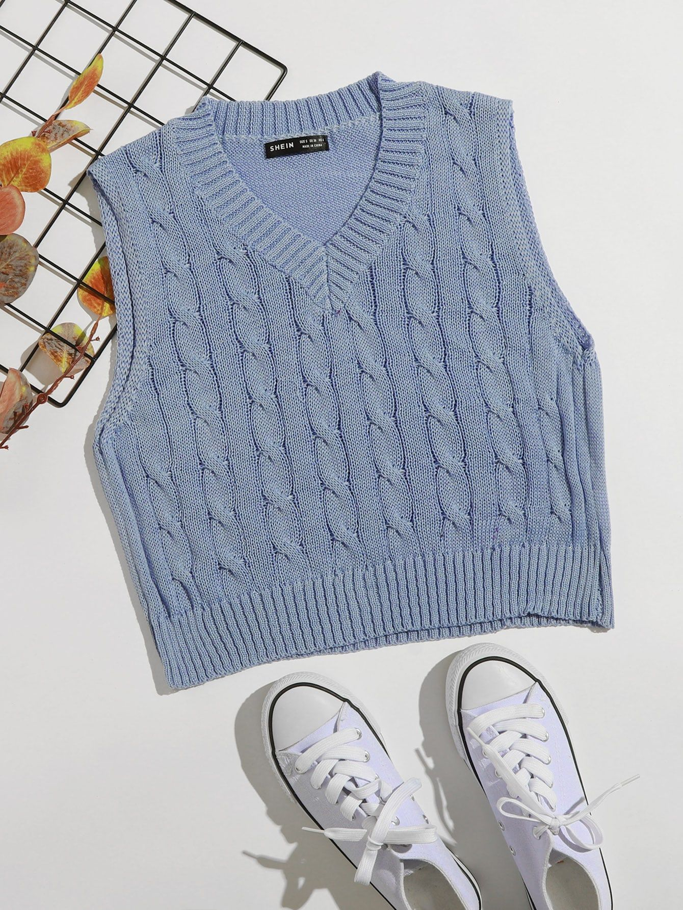 Black Friday 2020 Cable Knit Sweater Vest Shein Usa In 2020 Sweater Vest Cable Knit Sweaters Knot Sweater