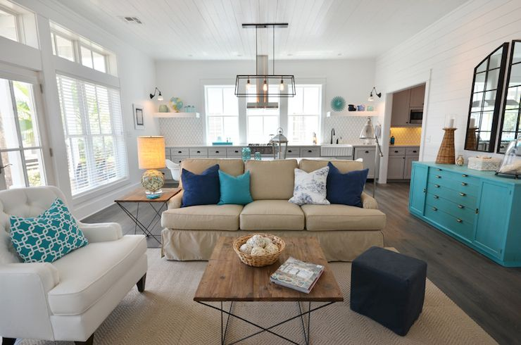 Open Plan Beach House Living Room And Kitchen With Glossy