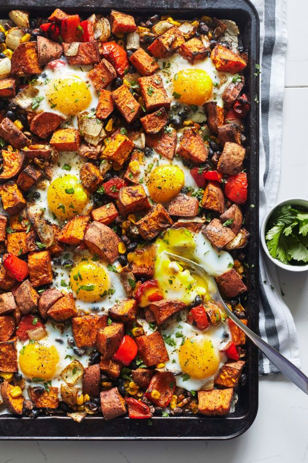 Sweet potato hash with eggs recipe vegetarian meal prep sweet one pan sweet potato hash with eggs healthy recipes breakfast forumfinder Choice Image