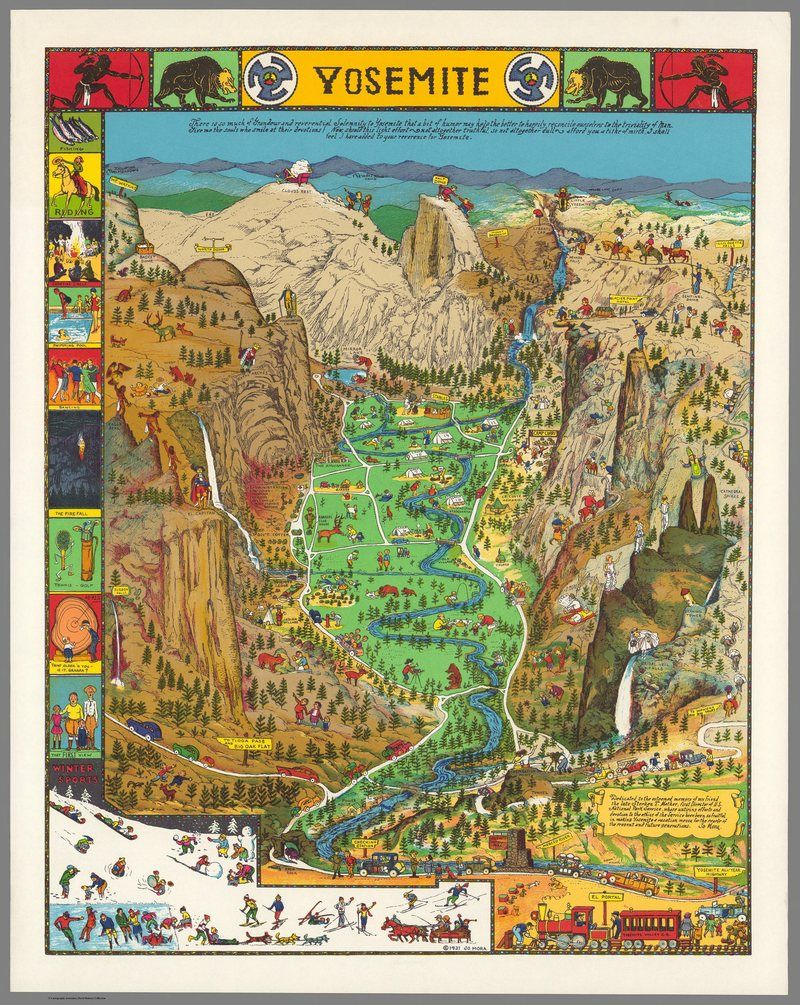 California Map Sequoia National Park%0A Behold a Glorious Vintage Map of Yosemite National Park