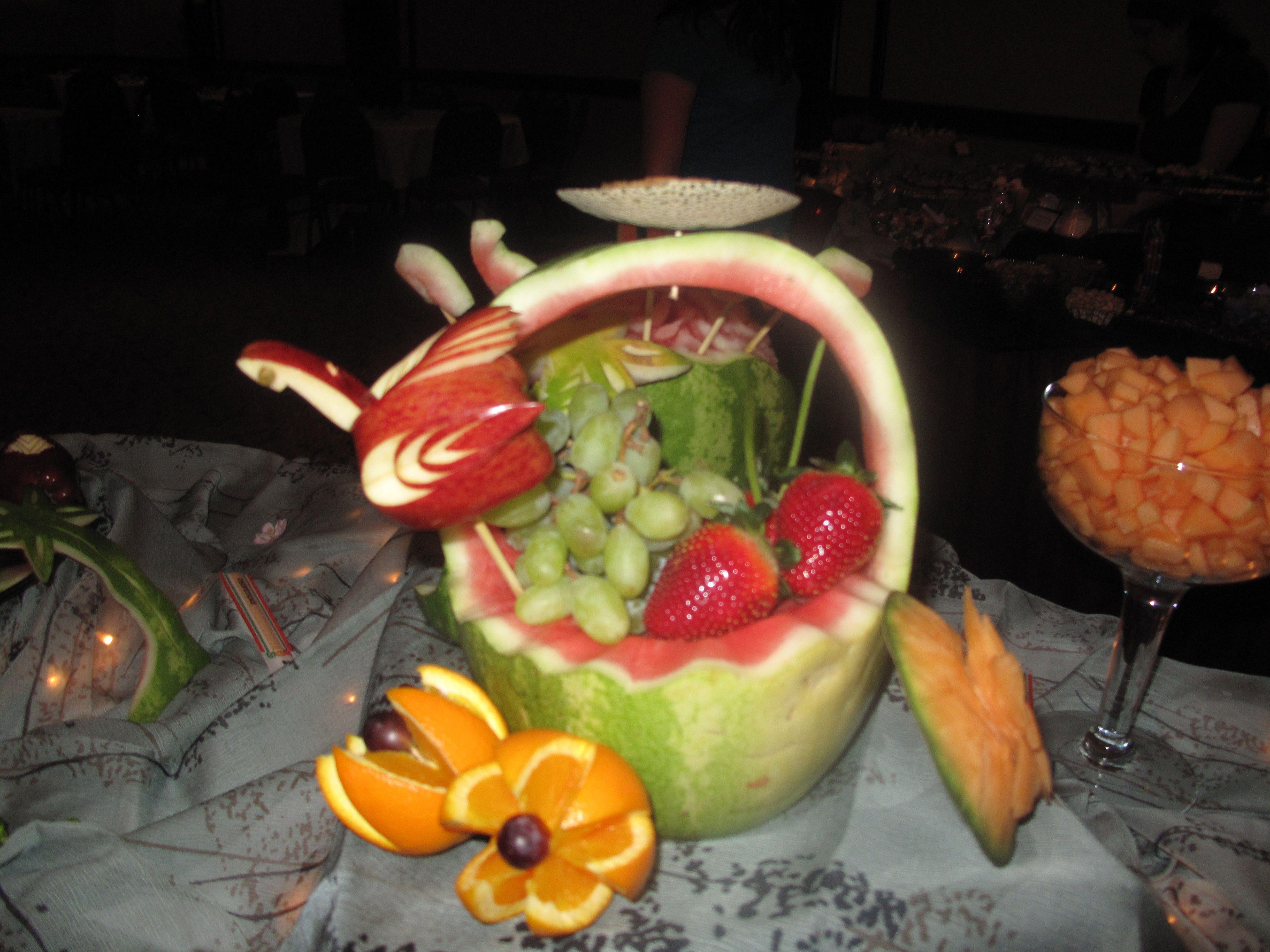 carved fruit basket - love the apple....   Fruit, Food ...