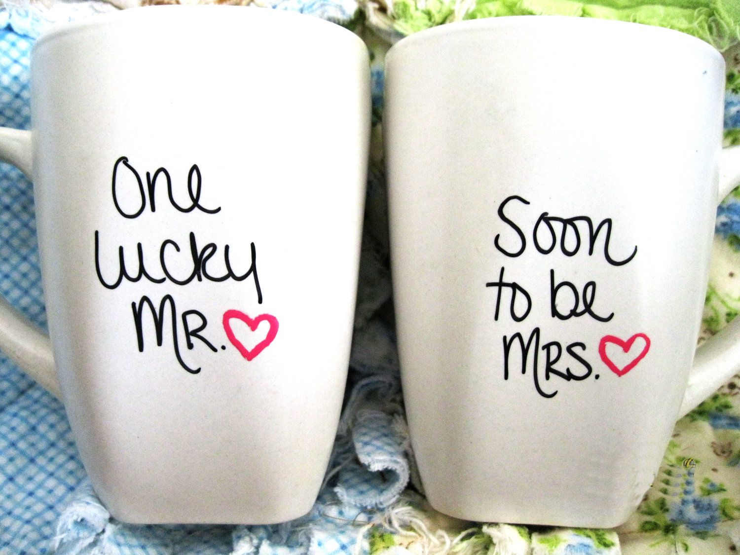 I wanttt!!! One Lucky Mr and Soon to be Mrs - Set of 2 Mugs ((Hand Drawn Design)). $14.00, via Etsy.