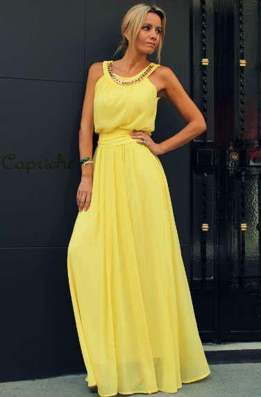 Capriche Vestidos Amarillos Largos Vestidos De Fiesta Y