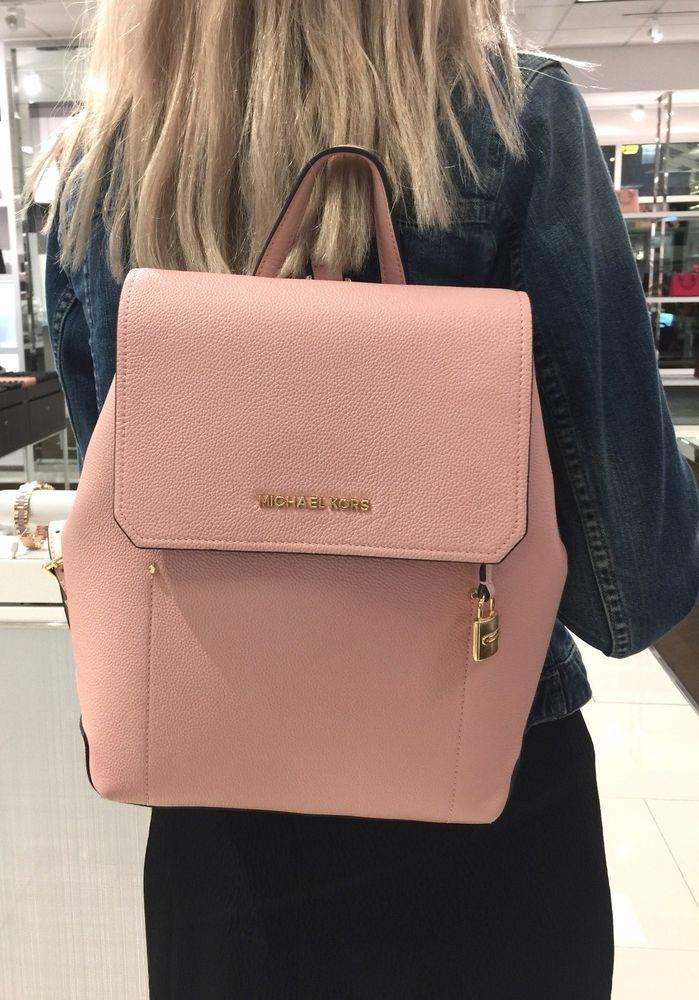3f2755ceb8a0 MICHAEL KORS HAYES BACKPACK MEDIUM LEATHER BAG PASTEL PINK BALLET ...