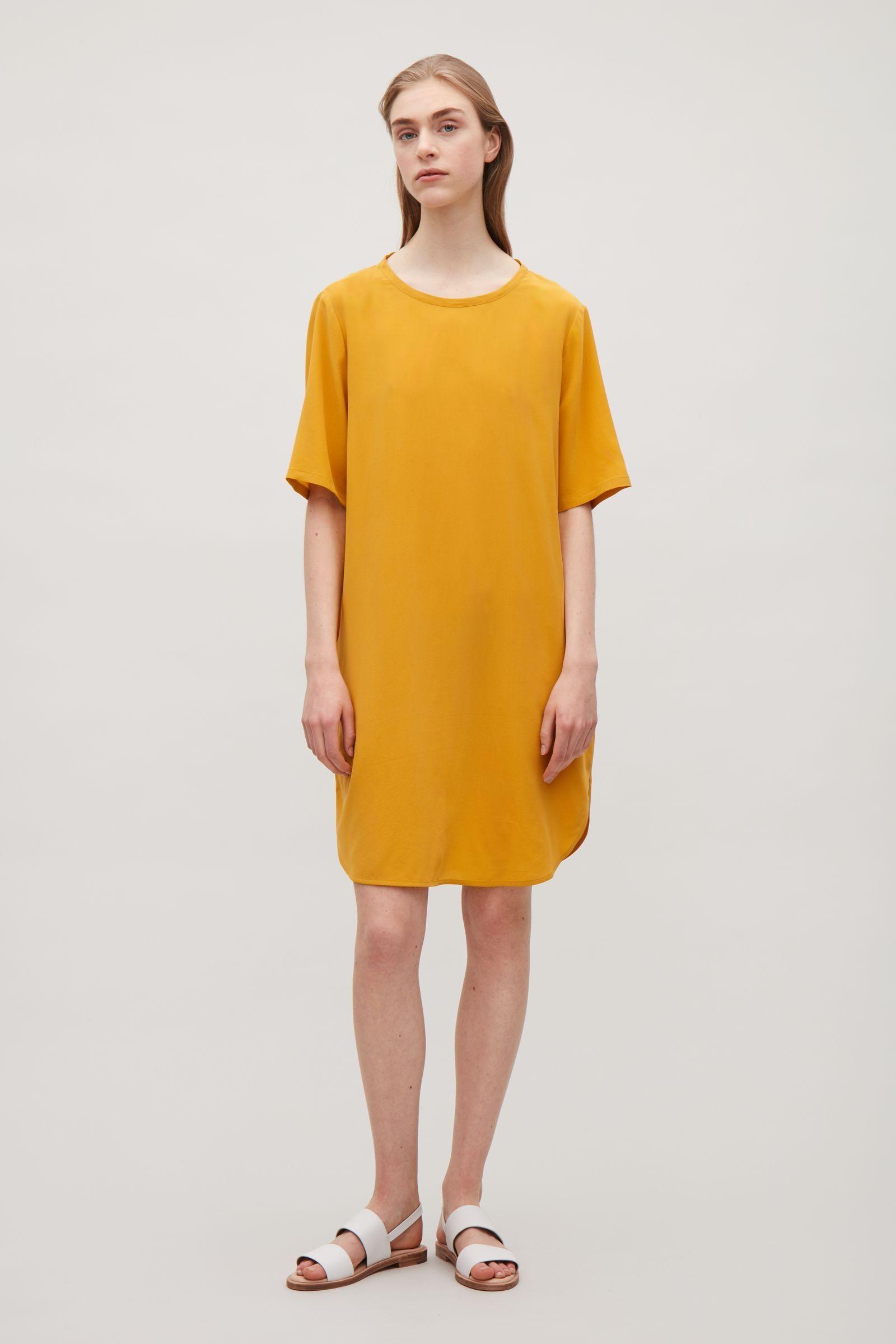 Cos Image 6 Of Oversized Silk T Shirt Dress In Yellow Dress Sacks