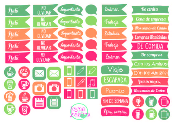 Stickers para agenda descargables buscar con google for Pegatinas pared personalizadas