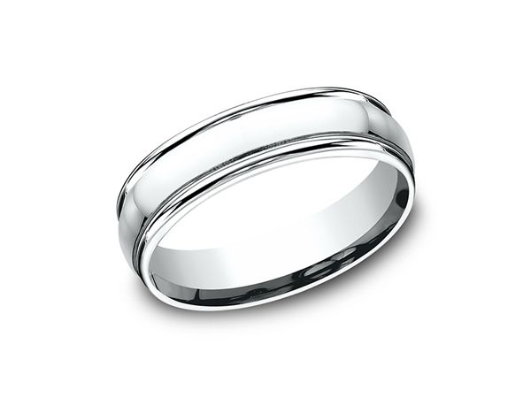 This 10 Karat White Gold 6mm Comfort Fit Design Wedding Band Features A High Polish Finish And A Rou Mens Wedding Rings Wedding Ring Bands Wedding Ring Designs
