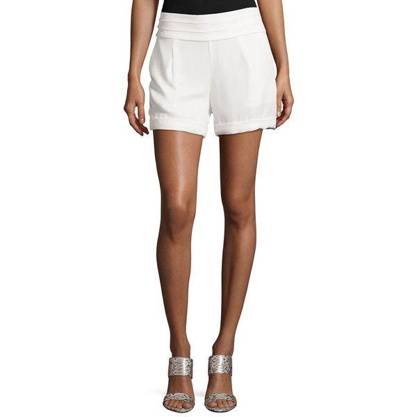 Haute Hippie Cummerbund-Waist Shorts ($110) ❤ liked on Polyvore featuring shorts, swan, short shorts, haute hippie shorts and haute hippie