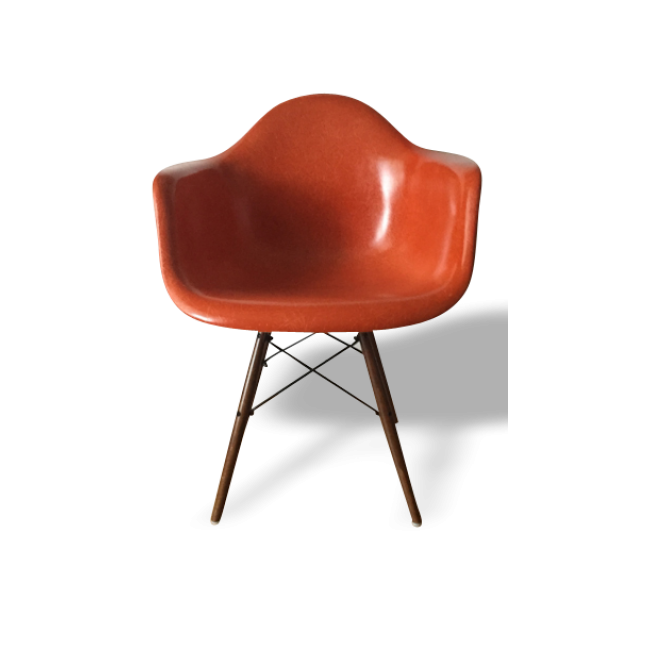 Fauteuil DAW Dining Armshell Wooden Base Orange Design - Fauteuil design charles eames