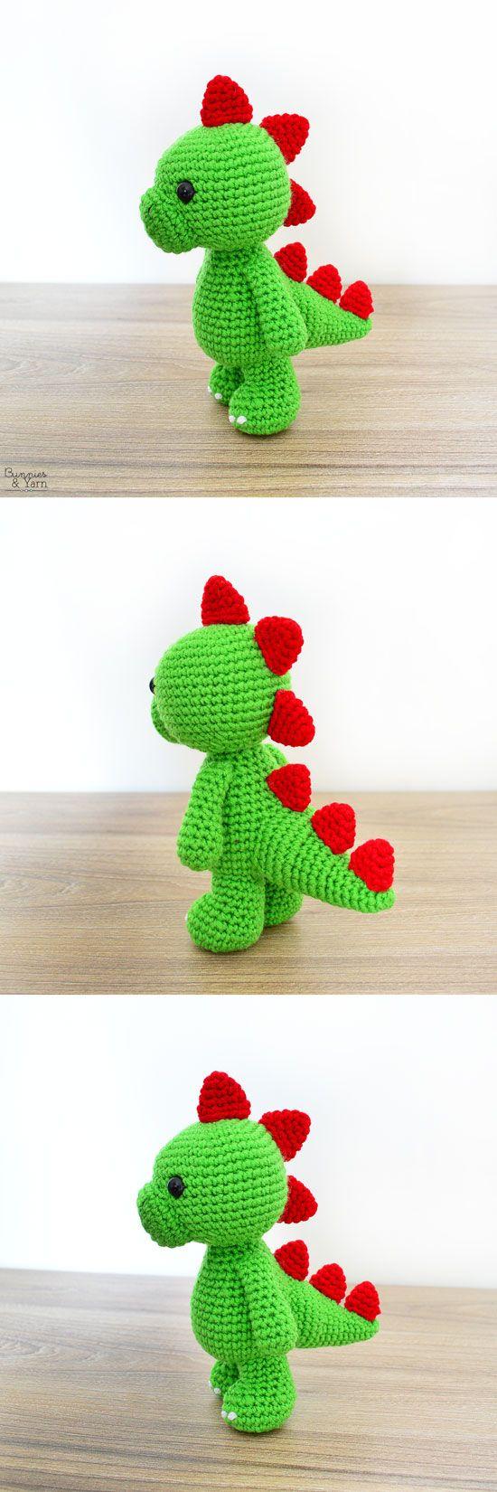 CROCHET PATTERN in English - Tim the Lovely Dinosaur - 9/23 cm. tall - Animal Amigurumi Toy - Instant PDF Download #crochetdinosaurpatterns