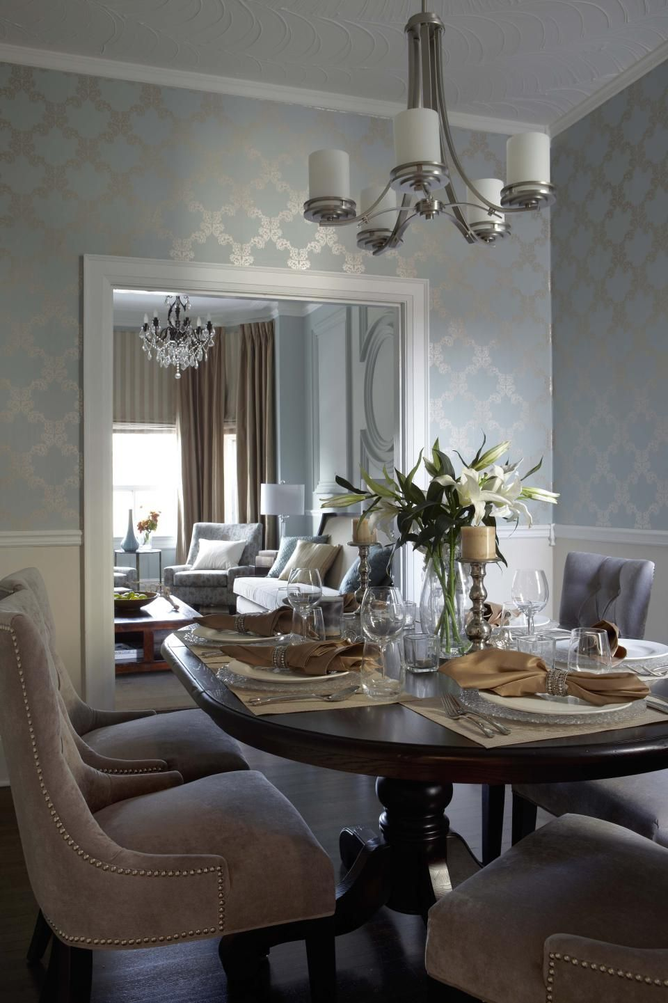 Contemporary Transitional French Country Dining Room Design Photo By Lux Design Album Re French Country Dining Room Dining Room Wallpaper Elegant Dining Room