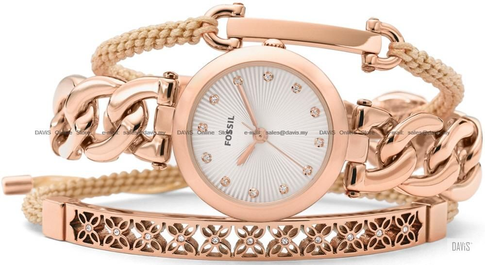 FOSSIL ES3567SET Womens Olive Watch Jewelry Box Set Rose Gold