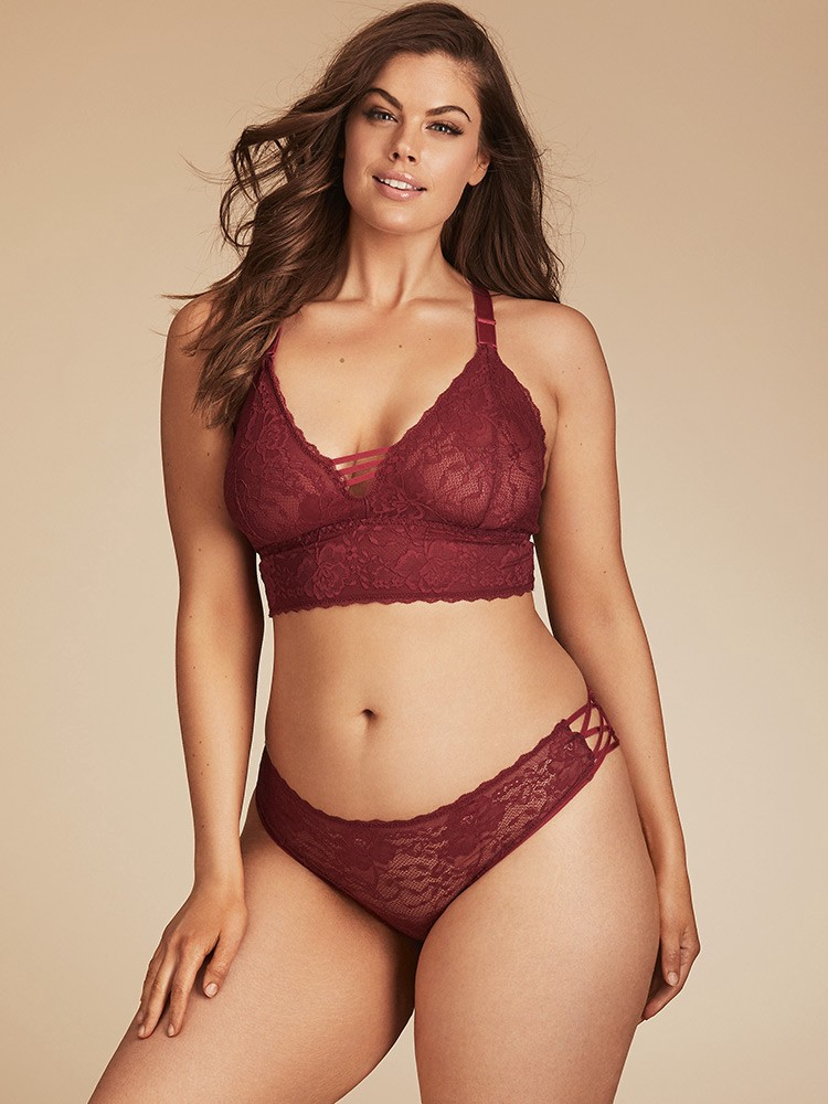 18a1966cab6 Hips And Curves Gemma Lace Hipster With Crisscross Strappy Sides - Cranberry  Large