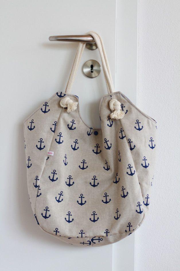 Online-Einzelhändler feinste Stoffe Genießen Sie kostenlosen Versand Maritime Canvastasche: Riesen-Shopper