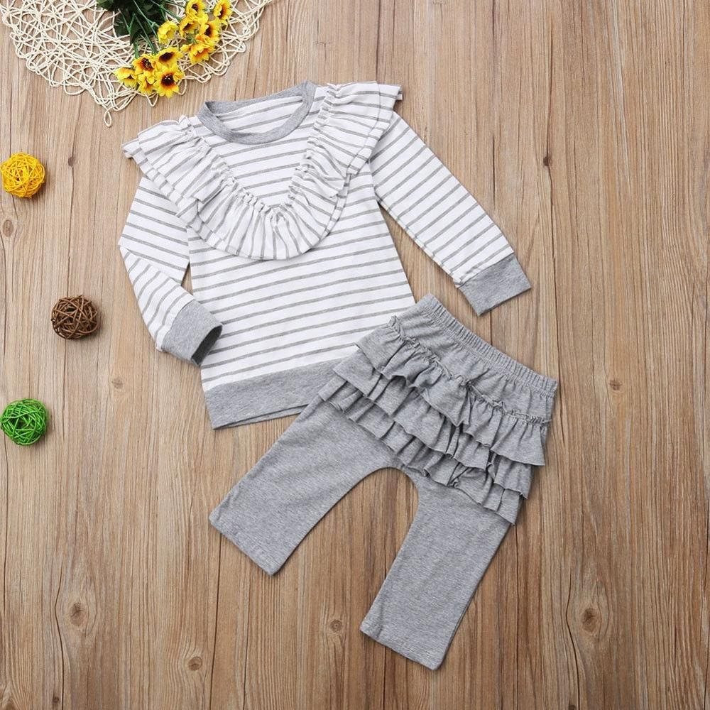 bde1b3dc97795 Toddler Baby autumn striped clothing set Girls Long Sleeve Layered Ruffle  Striped Tops T shirt Solid