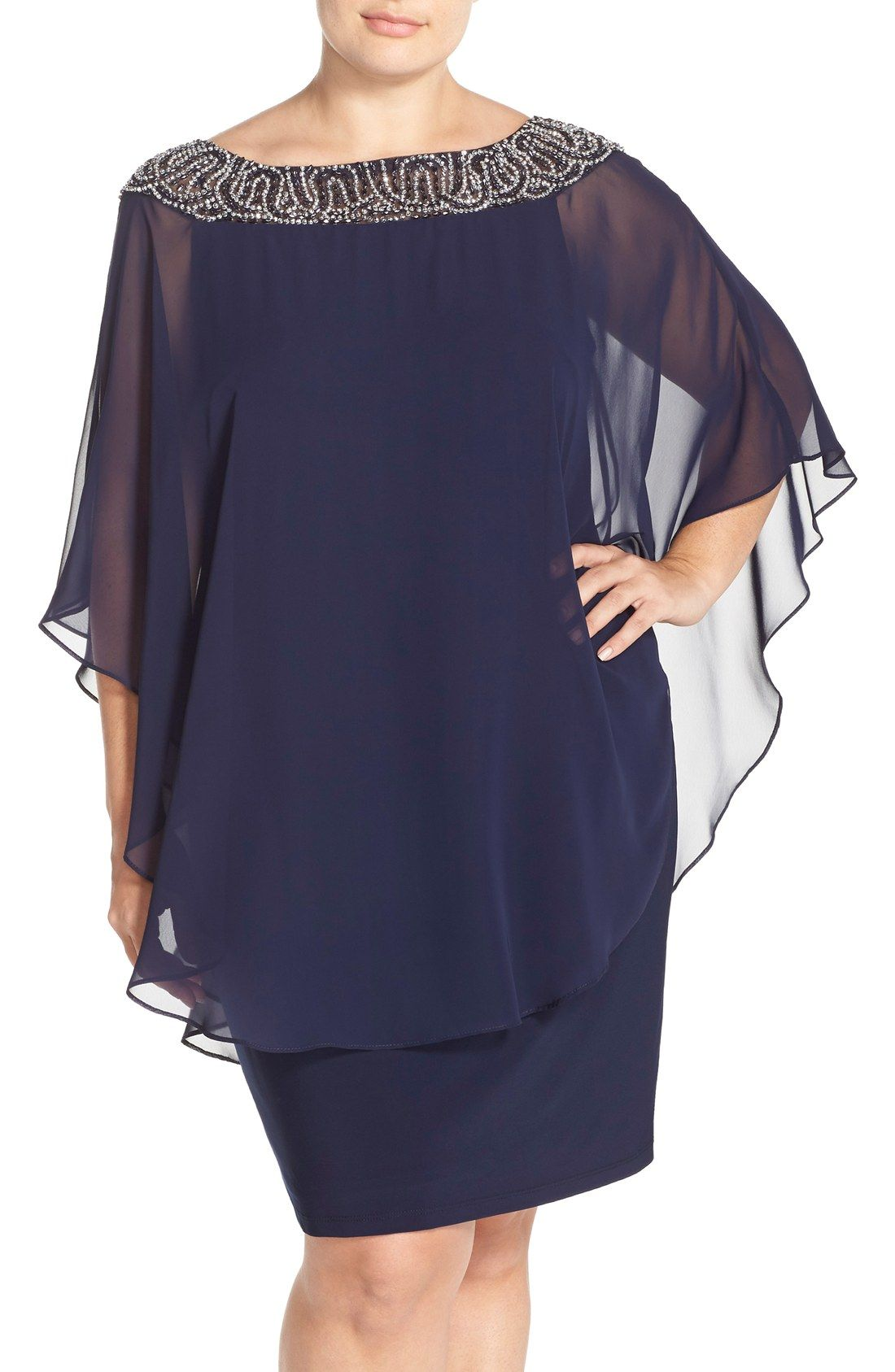 04d14e2a8ad5 Free shipping and returns on Xscape Embellished Chiffon Overlay Jersey  Sheath Dress (Plus Size) at Nordstrom.com. A poncho-inspired chiffon  overlay drapes ...
