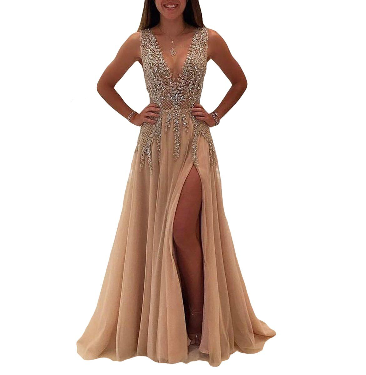 Mre homme long luxury beaded evening prom dresses with slit