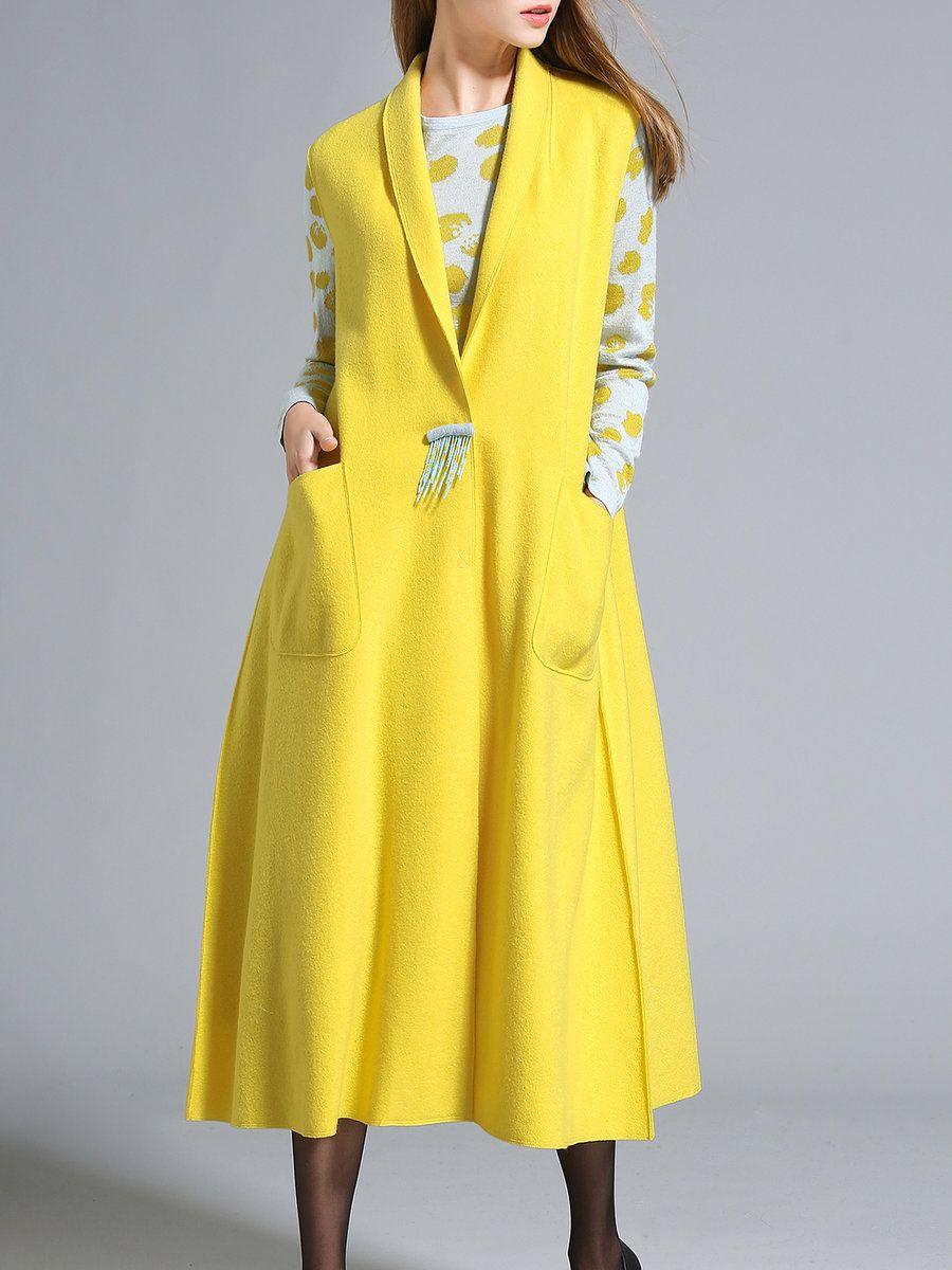 Adorewe stylewe zisheng yellow elegant fringed sleeveless plain
