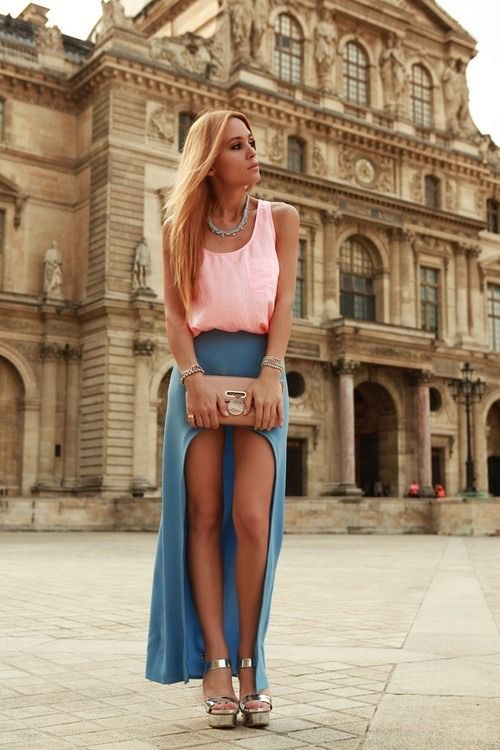 Euro street style fashion - sexy blonde in pink and blue showing off her sexy legs and attitude - #thejewelryhut