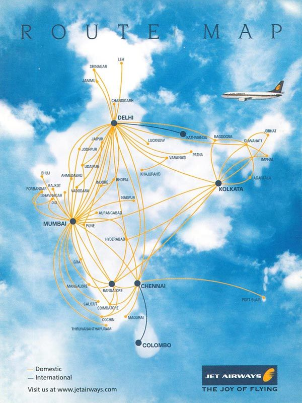 Jet Airways Route Map Jet Airways   Flight connection | Route maps | Flight connections