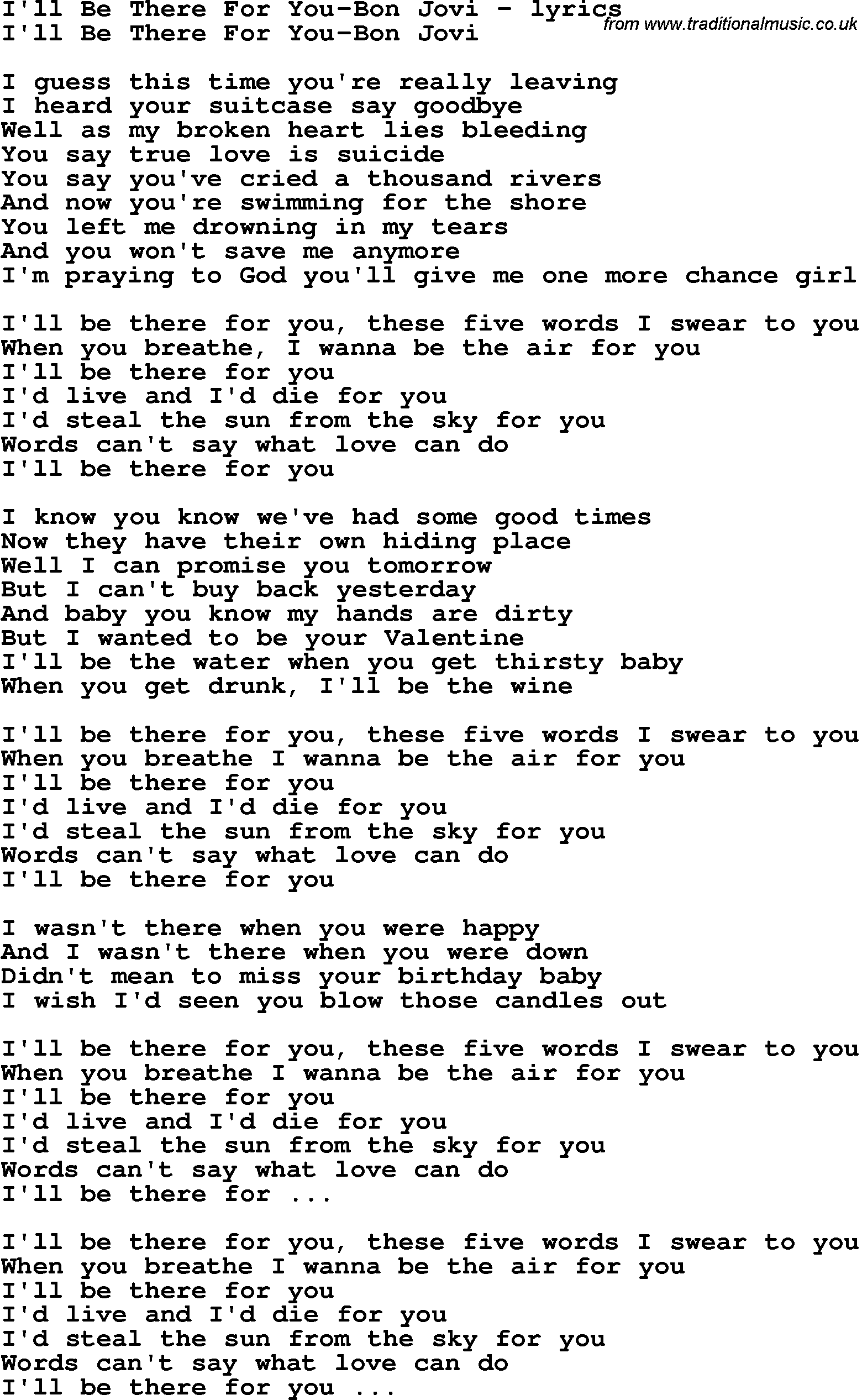 Bon Jovi I\'ll be there for you lyrics \