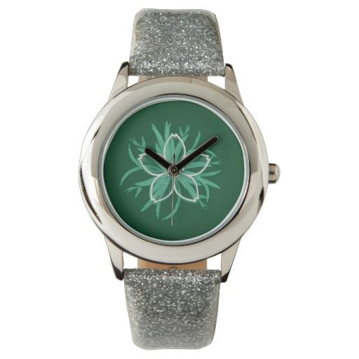 Happy Flower Watch by María Moreno - #flower #watch #accesories #girl #clock #girly #clothing #gift #motherday #mom #giftideas #girlfriend #zazzle #accesoriesgift #green, #happy #girlycute #children