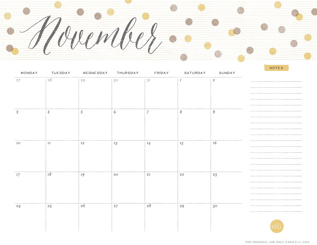 November Usa Calendar