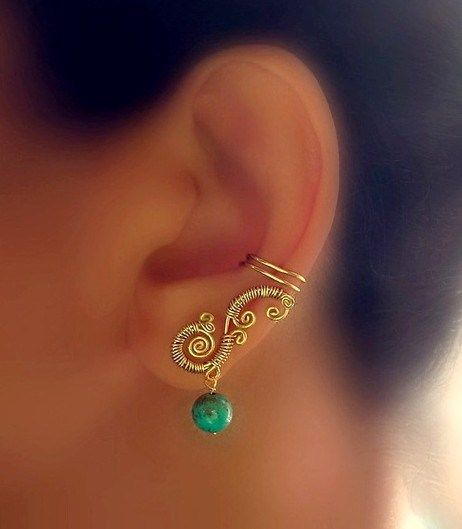 Cuff me! Or& #8230; Just my ear& #8230; Golden ear cuff with turqois pearl,…