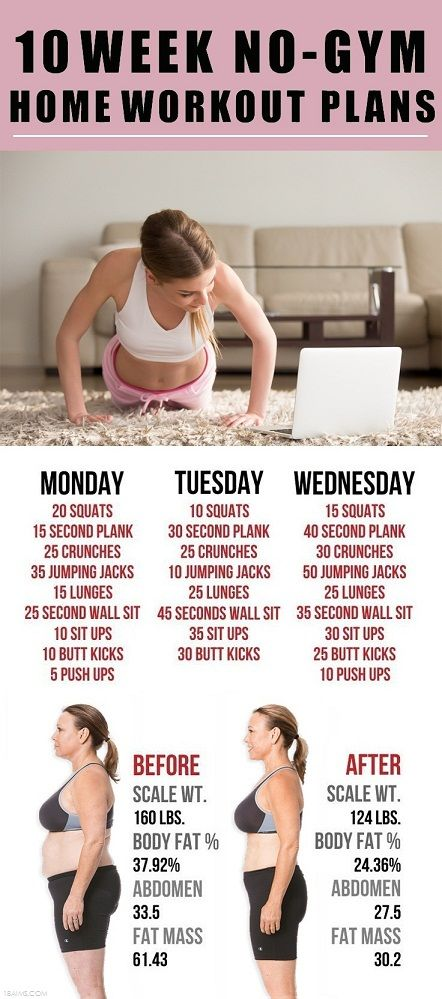 10 Week No-Gym Home Workout Plans – 18aims | Workout ideas ...