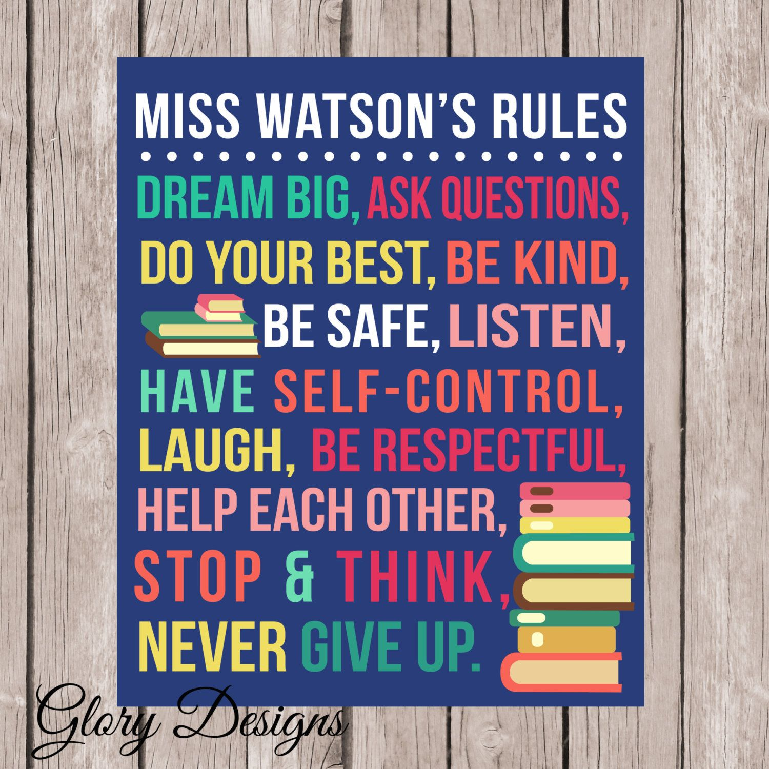Personalized Classroom Rules Poster School Printable