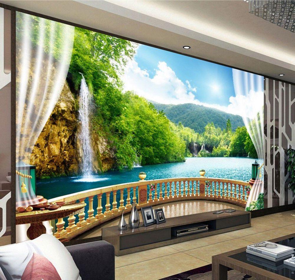 3d Wallpaper Bedroom Mural Modern Embossed Tv Waterfall Background Wall Bj940 Wallpaper Bedroom Bedroom Murals 3d Wallpaper Home