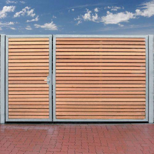Entrance gate 300 x 180cm 2 leaves asymmetrical galvanized + ho …