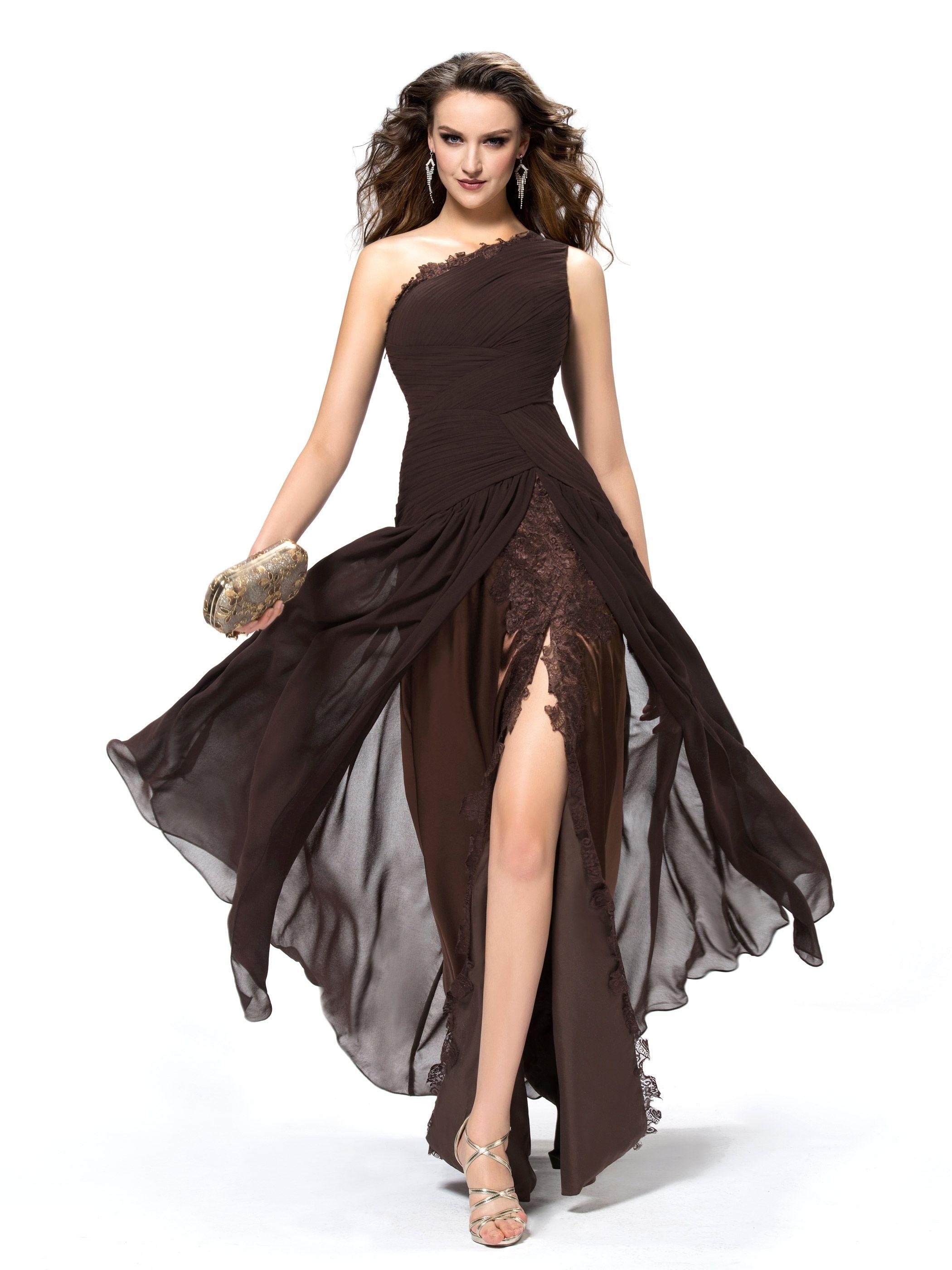 chicmall.de lieferungenEvening Floor-Length A-line One Shoulder Summer All Sizes Brown Pleats Dress Lange Abendkleider