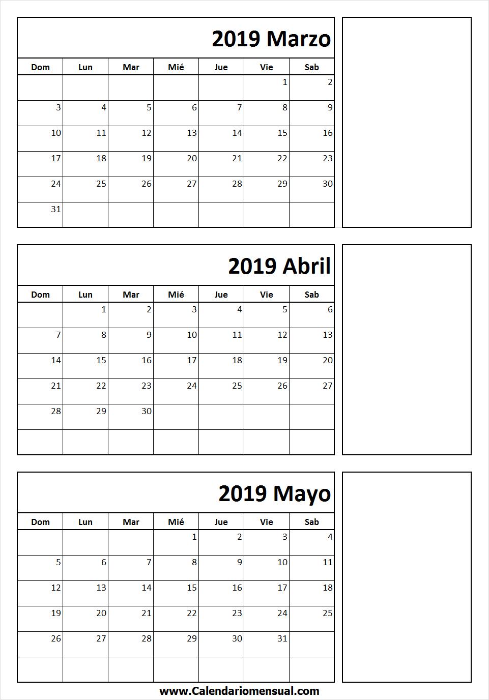 Calendario Abril Y Mayo 2019.Calendario De Marzo Abril Mayo 2019 March 2019 Calendar Online