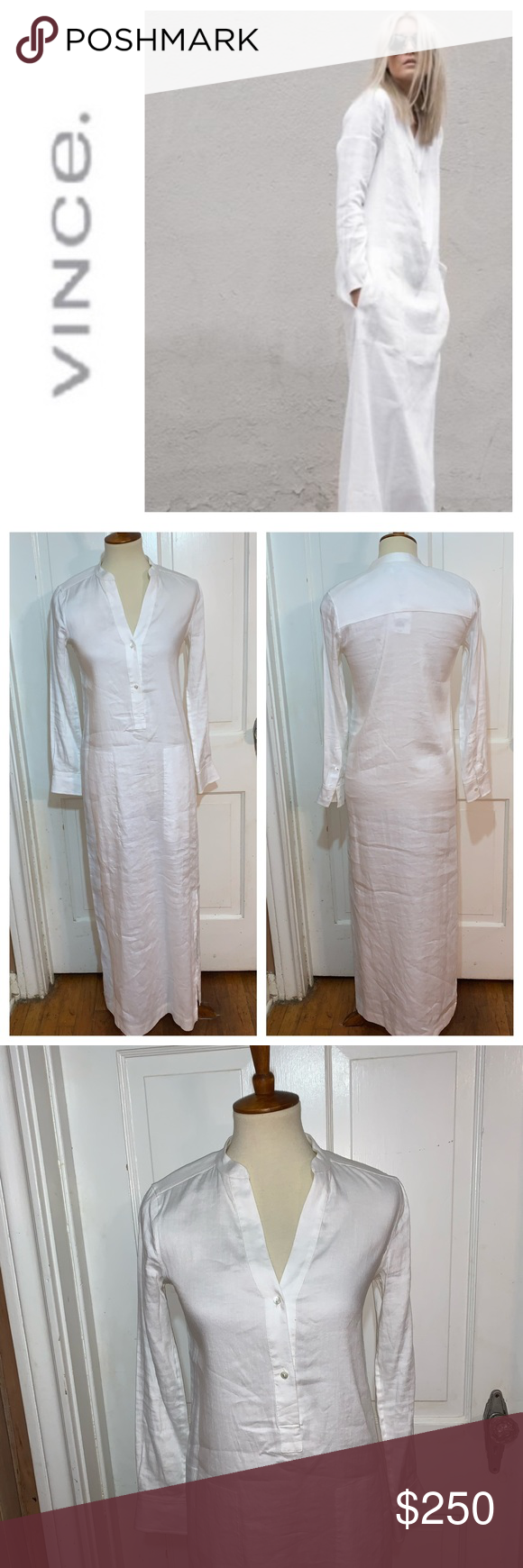 Nwt Vince White Linen Caftan Dress Size S White Linen Maxi Dress Linen Maxi Dress Clothes Design [ 1740 x 580 Pixel ]