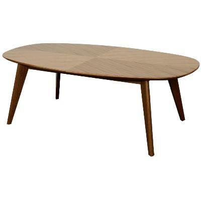 Milano Teak Wood Oval Coffee Table Walnut Harrington Galleries