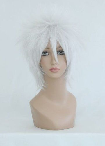 Smile Cosplay Anime Wig 35cm Short Gin Tama Sakata Gintoki Silvery White This Is An Amazon Affiliate Link Want To K Cosplay Wigs Wigs Hair Extensions Wigs