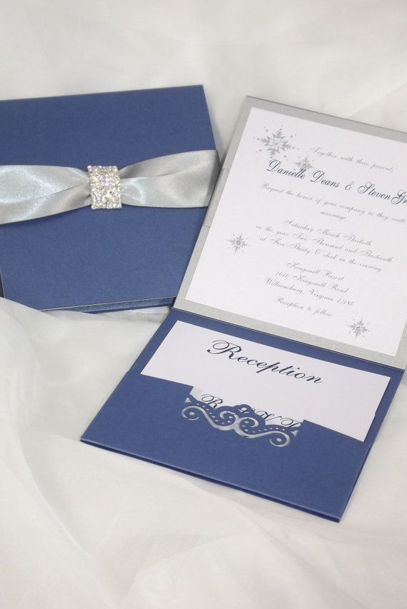 wedding invitation - royal blue and silver wedding invitation,