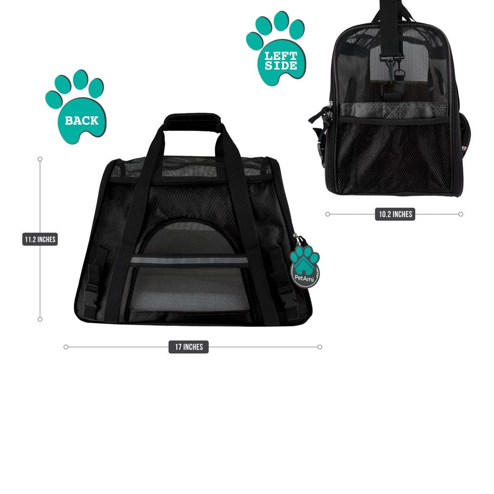 193a9aead8f PetAmi Premium Airline Approved SoftSided Pet Travel Carrier Ventilated  Comfortable Design with Safety Features Ideal for
