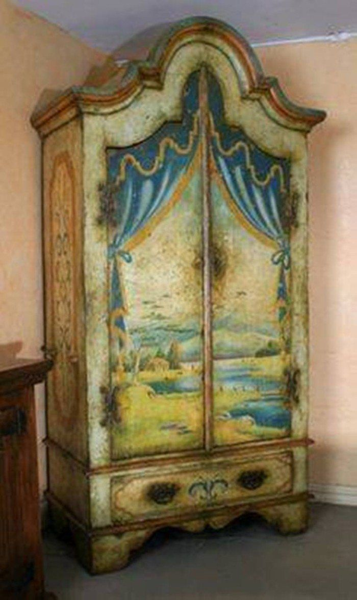 Handpainted Brazilain Beige And Blue Armoire From The Ivy