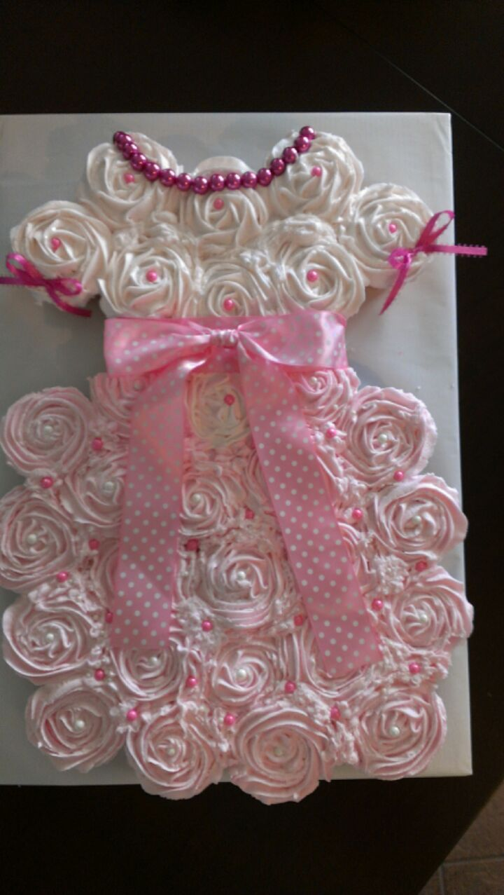 Girls Dress Cupcake Cake With Images Baby Shower Cakes Girl