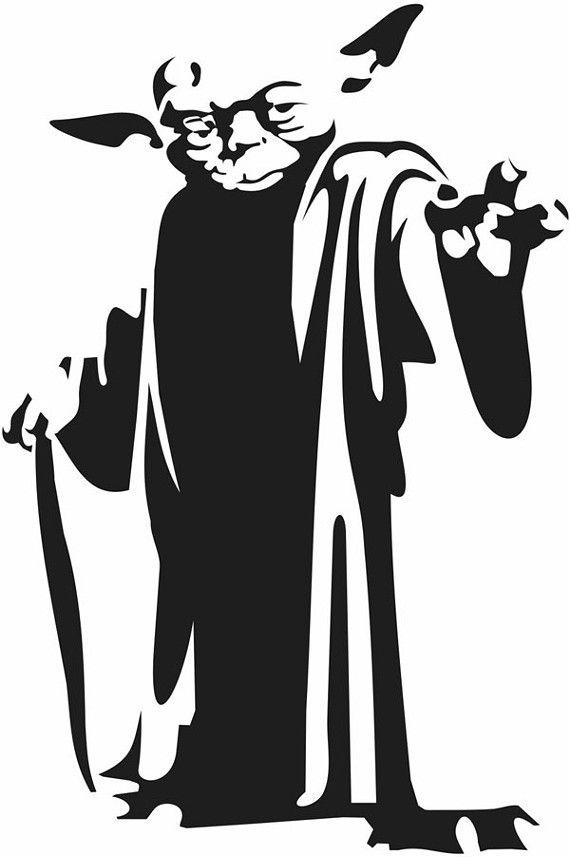 Maitre Yoda En Noir Et Blanc Beau Il Est Pochoir Pocho