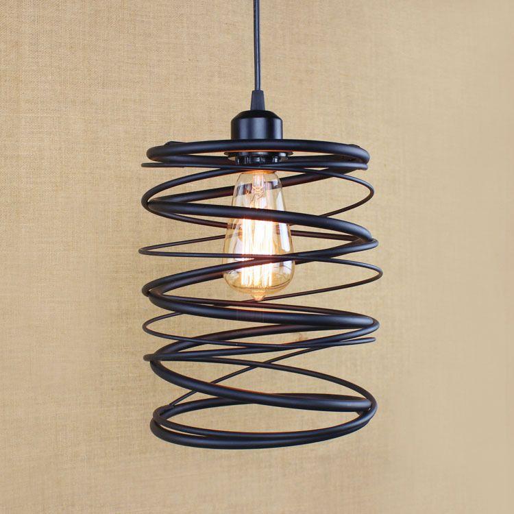 Noir Lampe Suspendue Clairage Industriel Fer Mtal