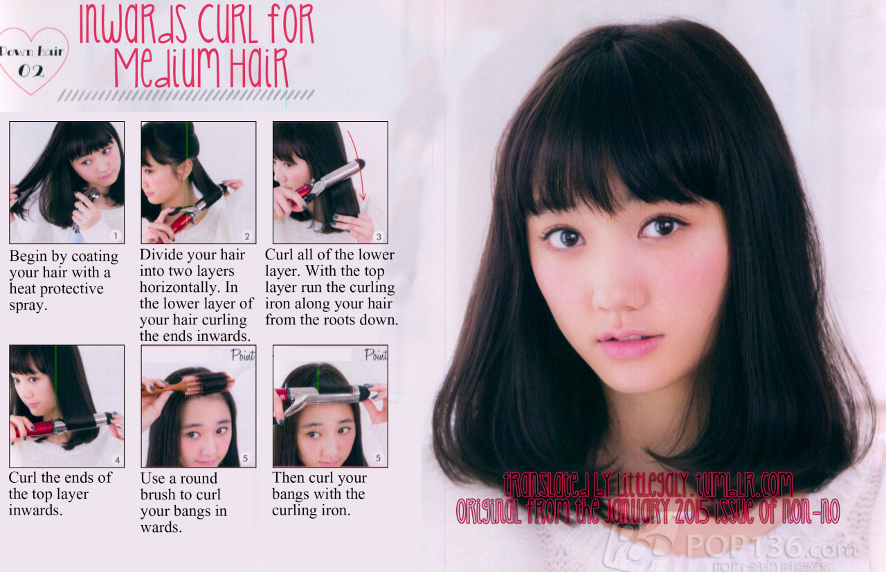 Inwards curl for medium hair tutorial from the january 2015 issue.